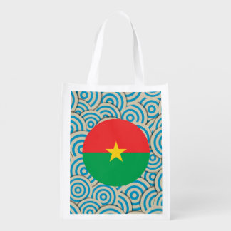 Fun Filled, Round flag of Burkina Faso Grocery Bag