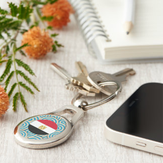Fun Filled, Round flag of Egypt Silver-Colored Oval Metal Keychain