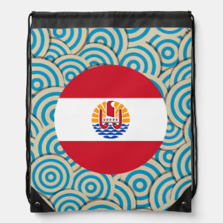 Fun Filled, Round flag of French Polynesia Drawstring Backpacks