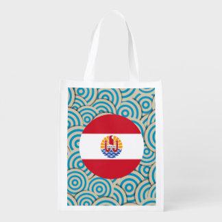 Fun Filled, Round flag of French Polynesia Market Totes