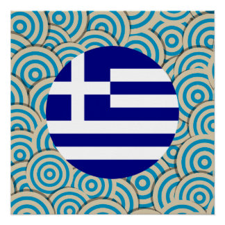 Fun Filled, Round flag of Greece Poster