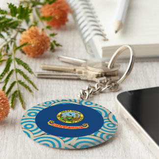 Fun Filled, Round flag of Idaho Keychain