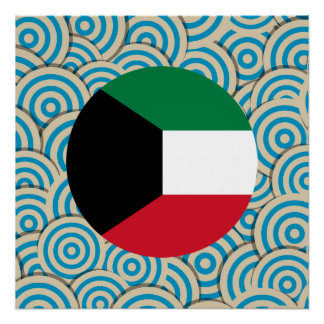 Fun Filled, Round flag of Kuwait Poster