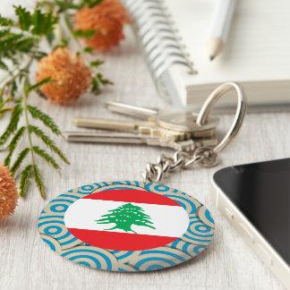 Fun Filled, Round flag of Lebanon Basic Round Button Keychain