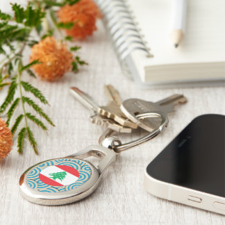 Fun Filled, Round flag of Lebanon Silver-Colored Oval Metal Keychain