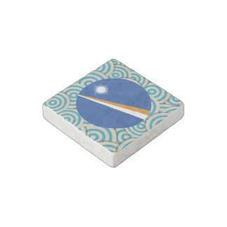 Fun Filled, Round flag of Marshall Islands Stone Magnet