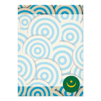 "Fun Filled, Round flag of Mauritania 5"" X 7"" Invitation Card"
