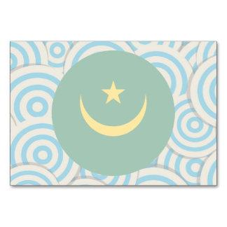 Fun Filled, Round flag of Mauritania Table Card