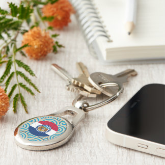 Fun Filled, Round flag of Missouri Silver-Colored Oval Metal Keychain