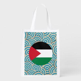 Fun Filled, Round flag of Palestine Reusable Grocery Bag
