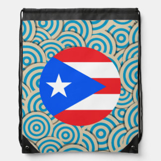 Fun Filled, Round flag of Puerto Rico Drawstring Bag