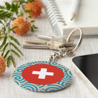 Fun Filled, Round flag of Switzerland Keychain