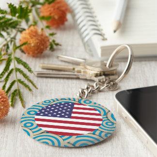 Fun Filled, Round flag of United States Basic Round Button Keychain