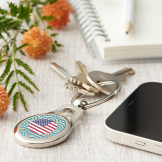 Fun Filled, Round flag of United States Silver-Colored Oval Metal Keychain