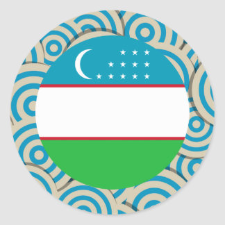 Fun Filled, Round flag of Uzbekistan Classic Round Sticker