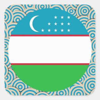 Fun Filled, Round flag of Uzbekistan Square Sticker