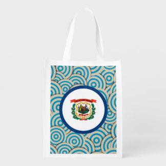 Fun Filled, Round flag of West Virginia Reusable Grocery Bags