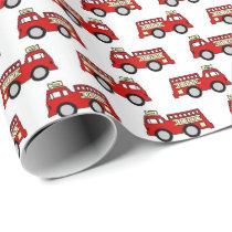 Fun firetruck pattern party wrap wrapping paper