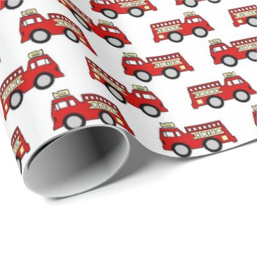 Beach Themed Fun firetruck pattern party wrap wrapping paper