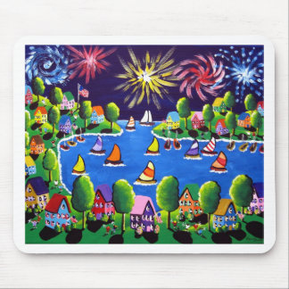 Fun Fireworks 4th Of July Folk Art Mouse Pad