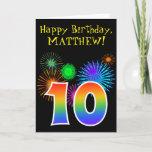 "[ Thumbnail: Fun Fireworks + Rainbow Pattern ""10"" Birthday # Card ]"