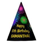 "[ Thumbnail: Fun Fireworks + Rainbow Pattern ""10"" Birthday # Party Hat ]"