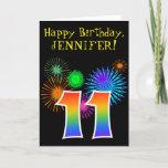 "[ Thumbnail: Fun Fireworks + Rainbow Pattern ""11"" Birthday # Card ]"