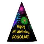 "[ Thumbnail: Fun Fireworks + Rainbow Pattern ""11"" Birthday # Party Hat ]"