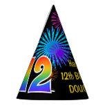 "[ Thumbnail: Fun Fireworks + Rainbow Pattern ""12"" Birthday # Party Hat ]"