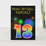 "[ Thumbnail: Fun Fireworks + Rainbow Pattern ""13"" Birthday # Card ]"
