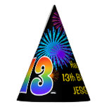 "[ Thumbnail: Fun Fireworks + Rainbow Pattern ""13"" Birthday # Party Hat ]"