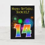 "[ Thumbnail: Fun Fireworks + Rainbow Pattern ""14"" Birthday # Card ]"