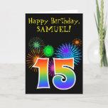 "[ Thumbnail: Fun Fireworks + Rainbow Pattern ""15"" Birthday # Card ]"