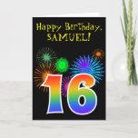 "[ Thumbnail: Fun Fireworks + Rainbow Pattern ""16"" Birthday # Card ]"