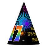 "[ Thumbnail: Fun Fireworks + Rainbow Pattern ""17"" Birthday # Party Hat ]"