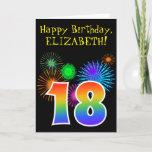 "[ Thumbnail: Fun Fireworks + Rainbow Pattern ""18"" Birthday # Card ]"
