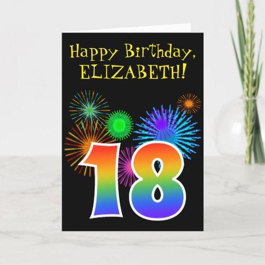Fun Fireworks Rainbow Pattern 18 Birthday Card Zazzle