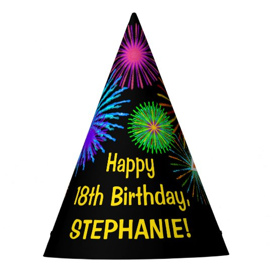 Fun Fireworks Rainbow Pattern 18 Birthday Party Hat