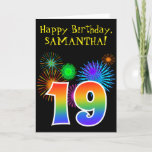 "[ Thumbnail: Fun Fireworks + Rainbow Pattern ""19"" Birthday # Card ]"