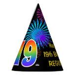 "[ Thumbnail: Fun Fireworks + Rainbow Pattern ""19"" Birthday # Party Hat ]"