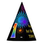 "[ Thumbnail: Fun Fireworks + Rainbow Pattern ""1"" Birthday # Party Hat ]"
