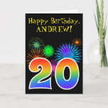"[ Thumbnail: Fun Fireworks + Rainbow Pattern ""20"" Birthday # Card ]"
