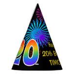 "[ Thumbnail: Fun Fireworks + Rainbow Pattern ""20"" Birthday # Party Hat ]"