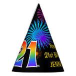 "[ Thumbnail: Fun Fireworks + Rainbow Pattern ""21"" Birthday # Party Hat ]"