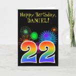 "[ Thumbnail: Fun Fireworks + Rainbow Pattern ""22"" Birthday # Card ]"