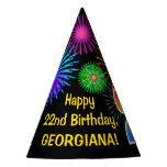 "[ Thumbnail: Fun Fireworks + Rainbow Pattern ""22"" Birthday # Party Hat ]"