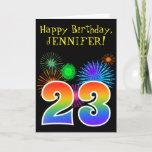 "[ Thumbnail: Fun Fireworks + Rainbow Pattern ""23"" Birthday # Card ]"