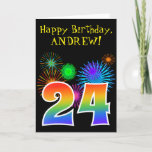 "[ Thumbnail: Fun Fireworks + Rainbow Pattern ""24"" Birthday # Card ]"