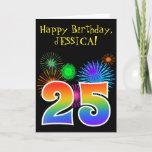 "[ Thumbnail: Fun Fireworks + Rainbow Pattern ""25"" Birthday # Card ]"