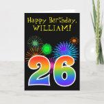 "[ Thumbnail: Fun Fireworks + Rainbow Pattern ""26"" Birthday # Card ]"